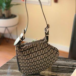 Fendi Saddle Bag Canvas Shoulder Bag